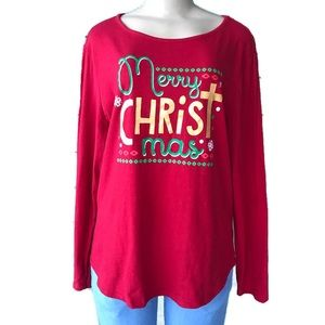 Red Christmas sweater long sleeve t-shirt sweater